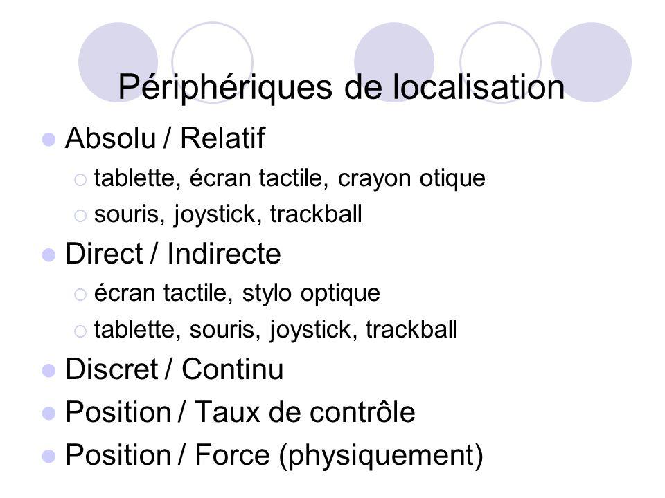 Périphériques de localisation Absolu / Relatif tablette, écran tactile, crayon otique souris, joystick, trackball Direct / Indirecte écran tactile, stylo optique tablette, souris, joystick, trackball Discret / Continu Position / Taux de contrôle Position / Force (physiquement)