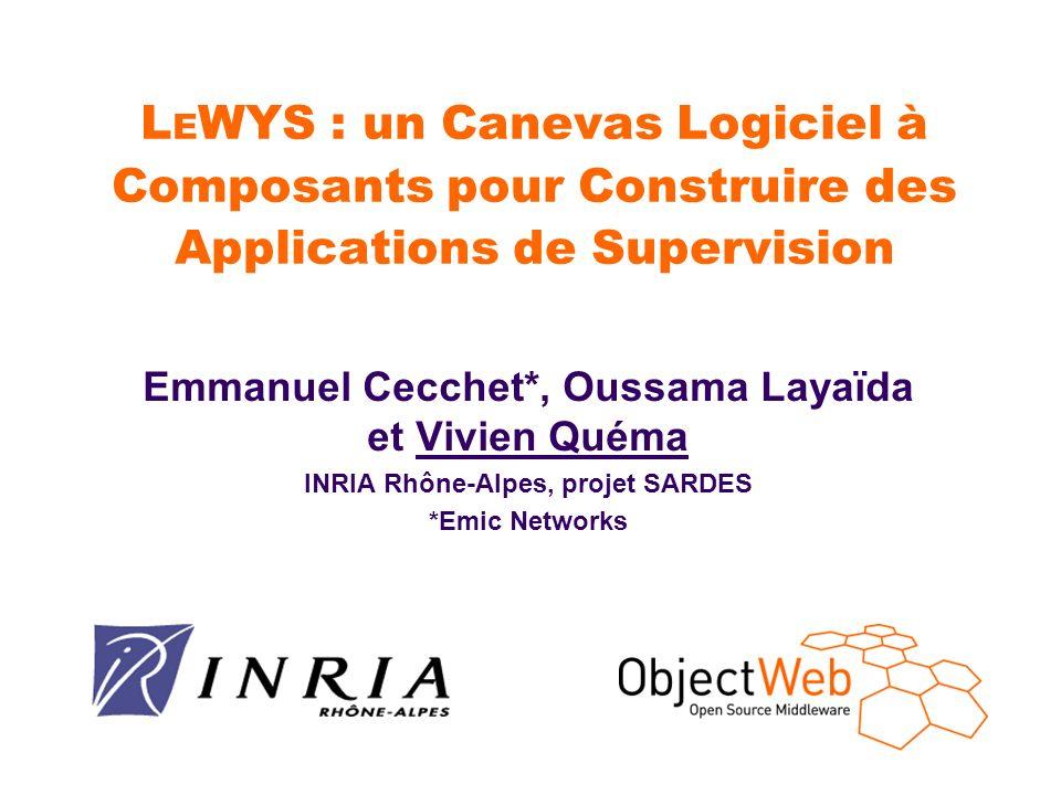 L E WYS : un Canevas Logiciel à Composants pour Construire des Applications de Supervision Emmanuel Cecchet*, Oussama Layaïda et Vivien Quéma INRIA Rh