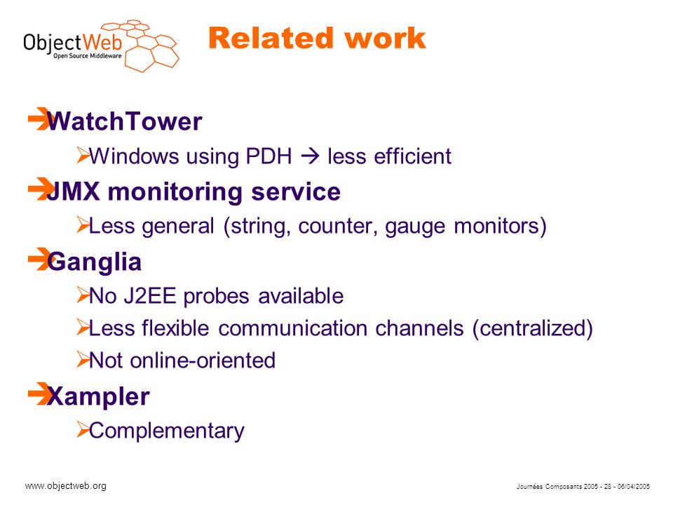 www.objectweb.org Journées Composants 2005 - 28 - 06/04/2005 Related work è WatchTower Windows using PDH less efficient è JMX monitoring service Less general (string, counter, gauge monitors) è Ganglia No J2EE probes available Less flexible communication channels (centralized) Not online-oriented è Xampler Complementary