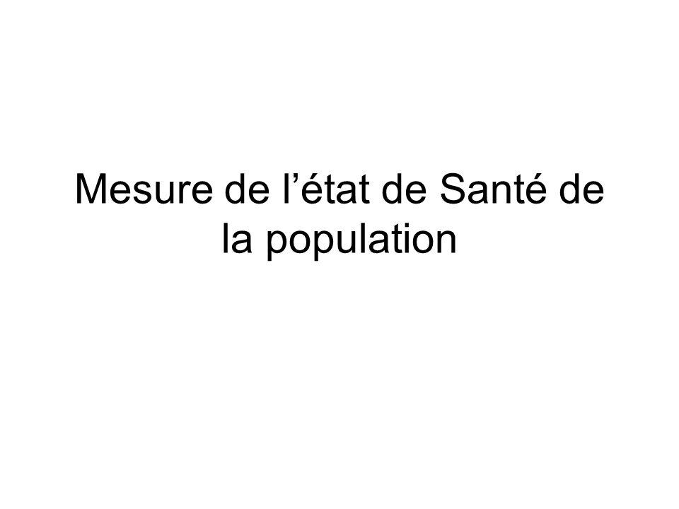 Pour mesurer létat de Santé dune population on se sert dindicateurs –Démographiques –Morbidité –Mortalité