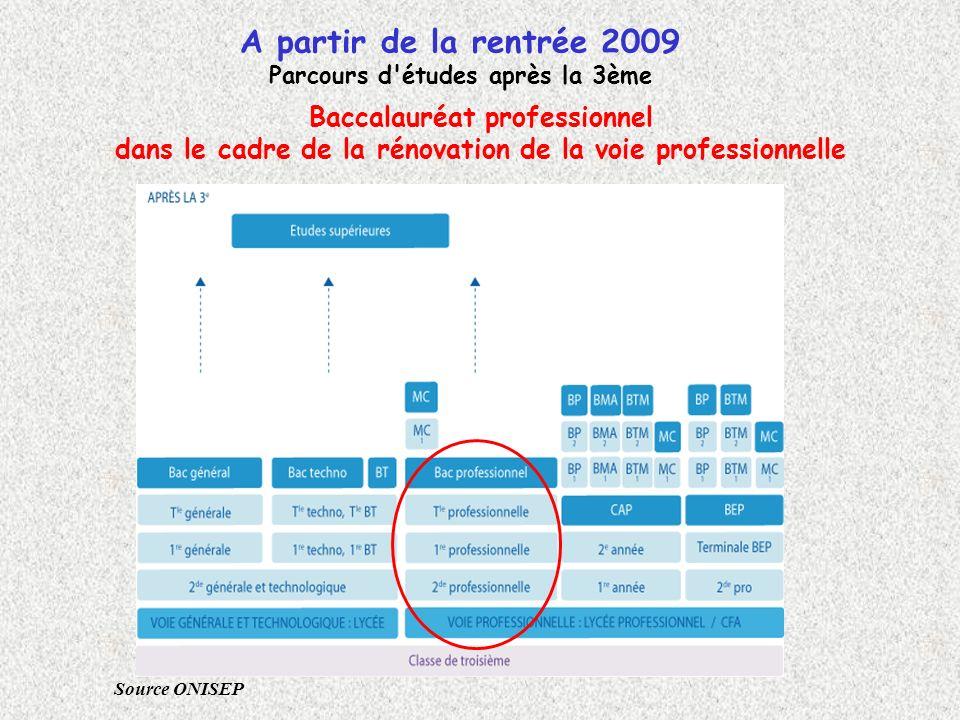 Baccalauréat professionnel dans le cadre de la rénovation de la voie professionnelle A partir de la rentrée 2009 Parcours d'études après la 3ème Sourc
