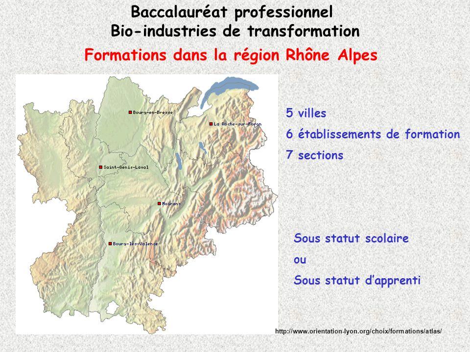 Formations dans la région Rhône Alpes Baccalauréat professionnel Bio-industries de transformation http://www.orientation-lyon.org/choix/formations/atl