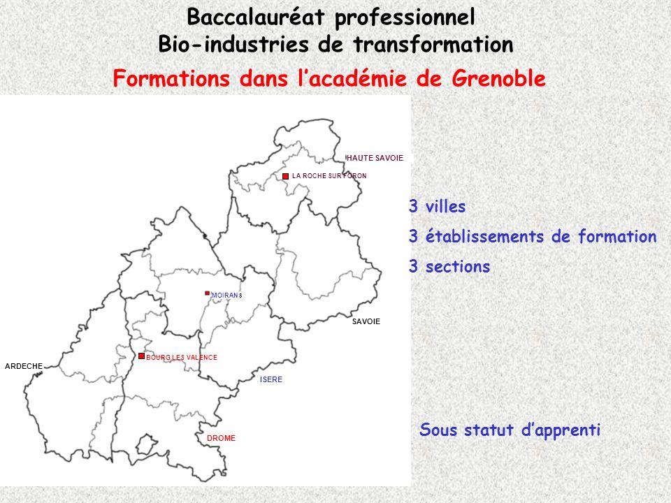 Formations dans lacadémie de Grenoble Baccalauréat professionnel Bio-industries de transformation LA ROCHE SUR FORON BOURG LES VALENCE MOIRAN S SAVOIE