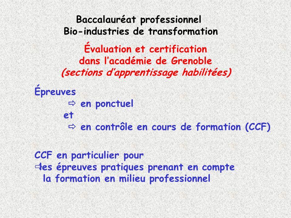 Évaluation et certification dans lacadémie de Grenoble (sections dapprentissage habilitées) Baccalauréat professionnel Bio-industries de transformatio