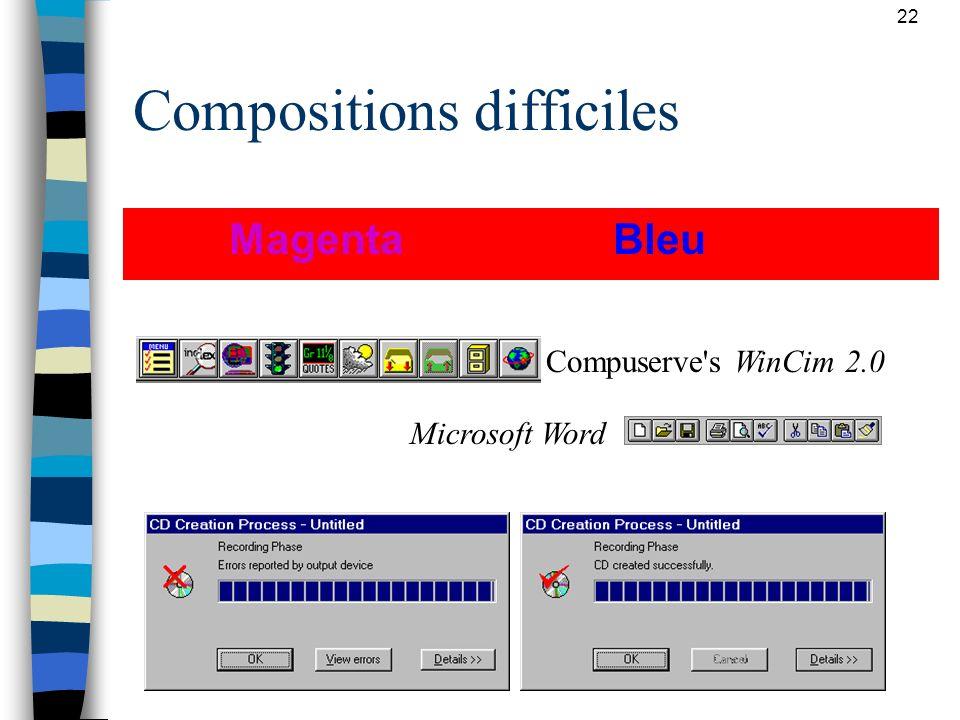 22 Compositions difficiles Magenta Bleu Compuserve's WinCim 2.0 Microsoft Word