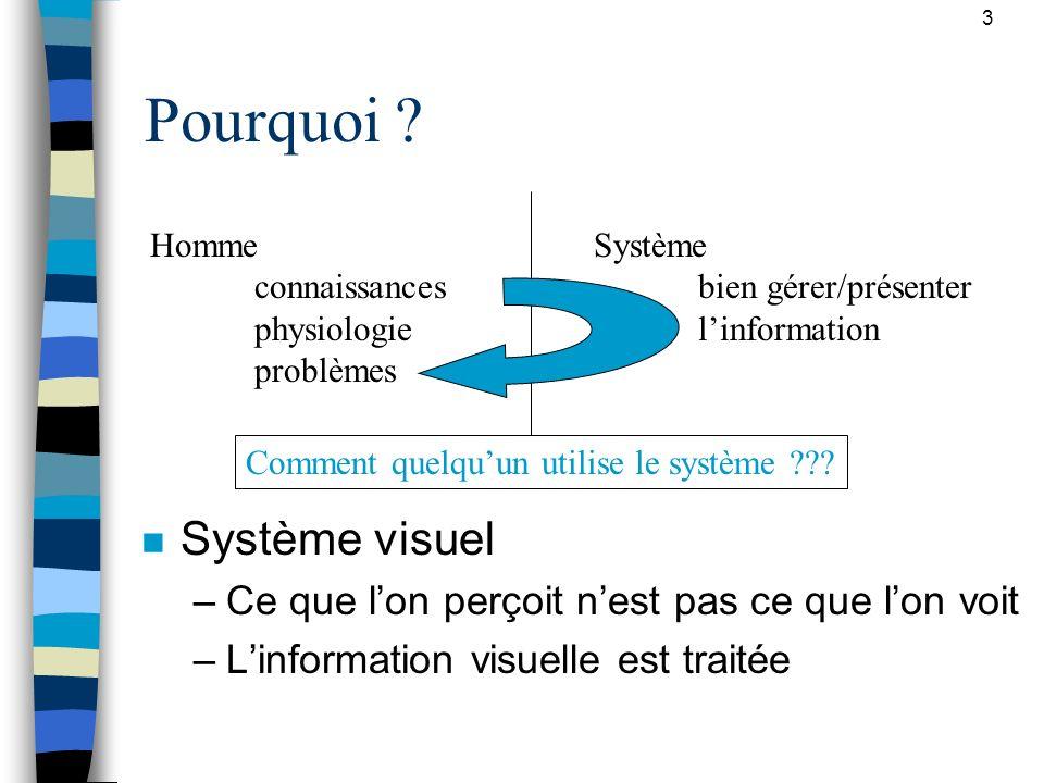 3 Pourquoi ? n Système visuel –Ce que lon perçoit nest pas ce que lon voit –Linformation visuelle est traitée Homme connaissances physiologie problème