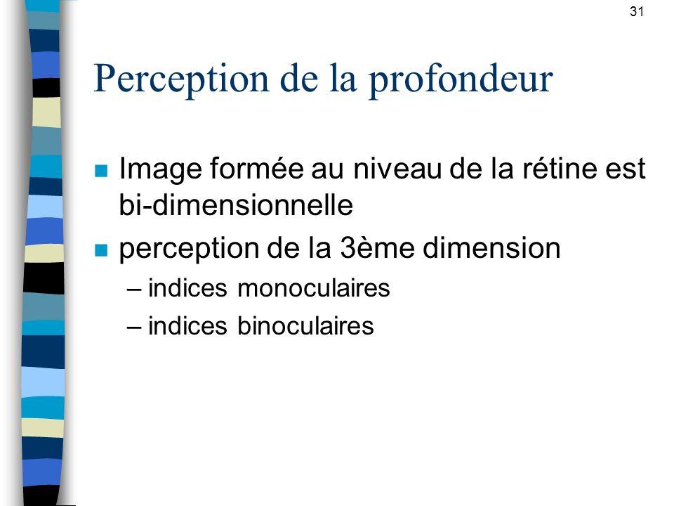 31 Perception de la profondeur n Image formée au niveau de la rétine est bi-dimensionnelle n perception de la 3ème dimension –indices monoculaires –in
