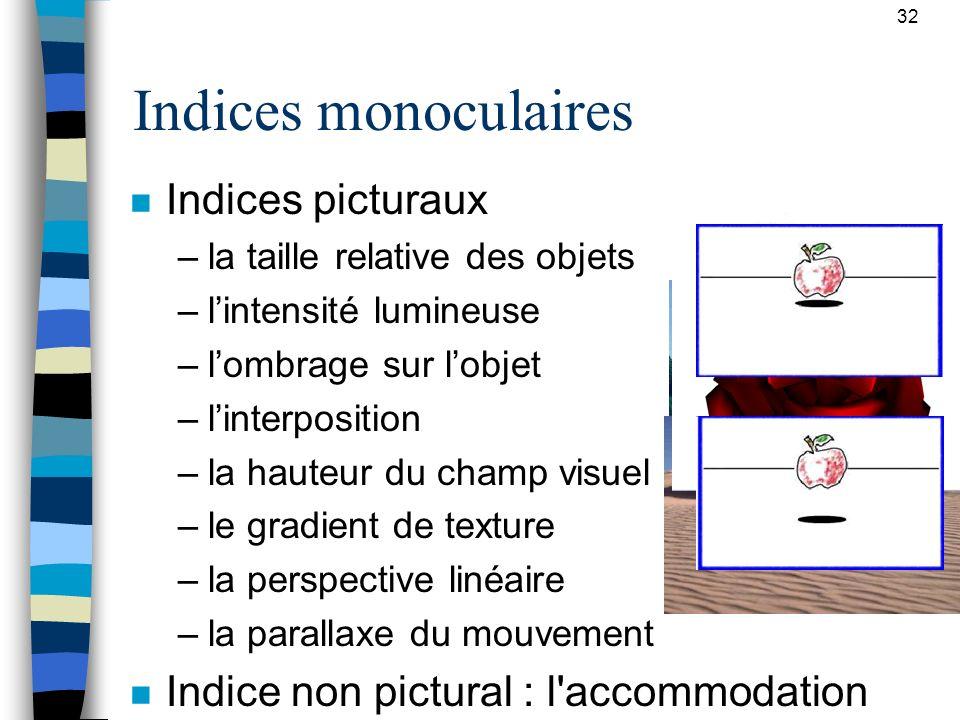 32 Indices monoculaires n Indices picturaux –la taille relative des objets –lintensité lumineuse –lombrage sur lobjet –linterposition –la hauteur du c