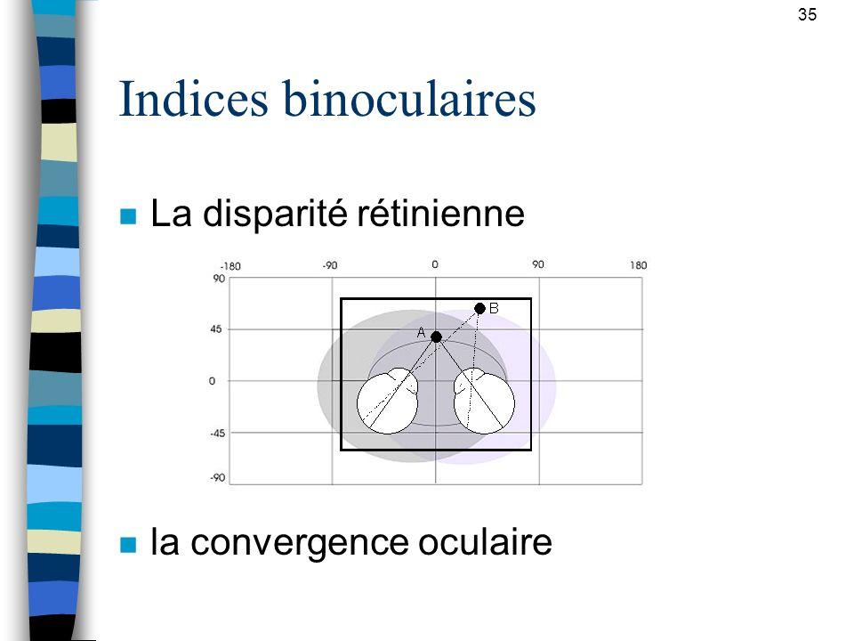 35 Indices binoculaires n La disparité rétinienne n la convergence oculaire