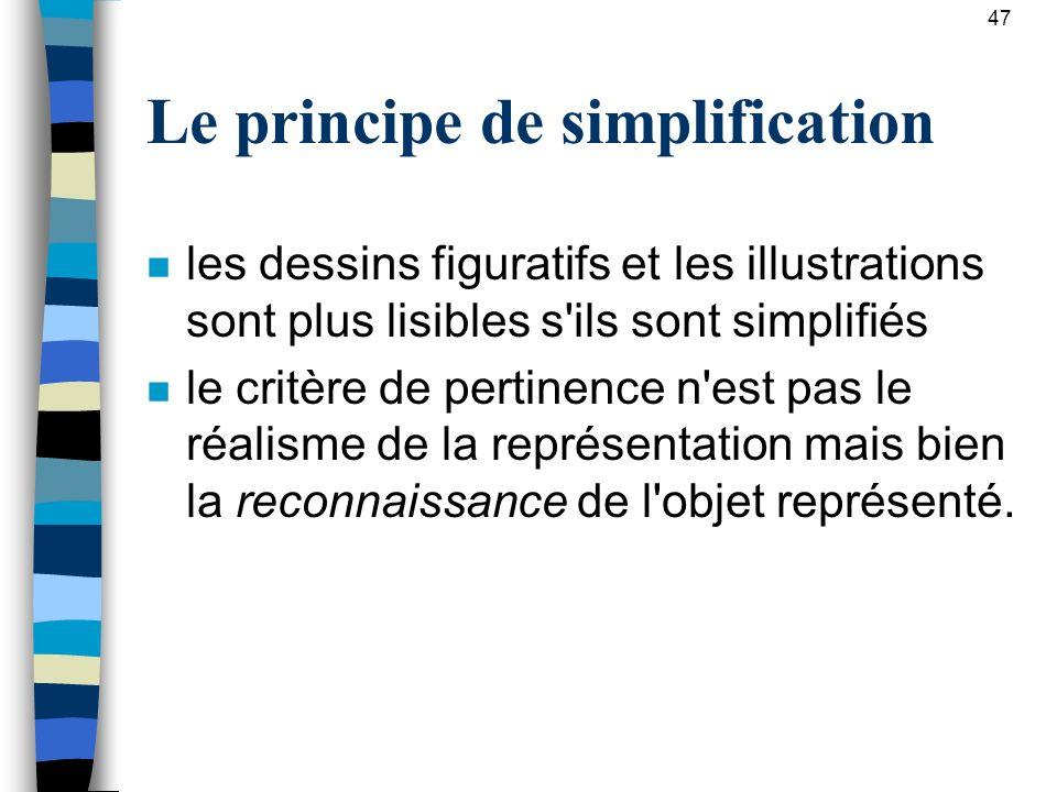 Le principe de simplification n les dessins figuratifs et les illustrations sont plus lisibles s'ils sont simplifiés n le critère de pertinence n'est