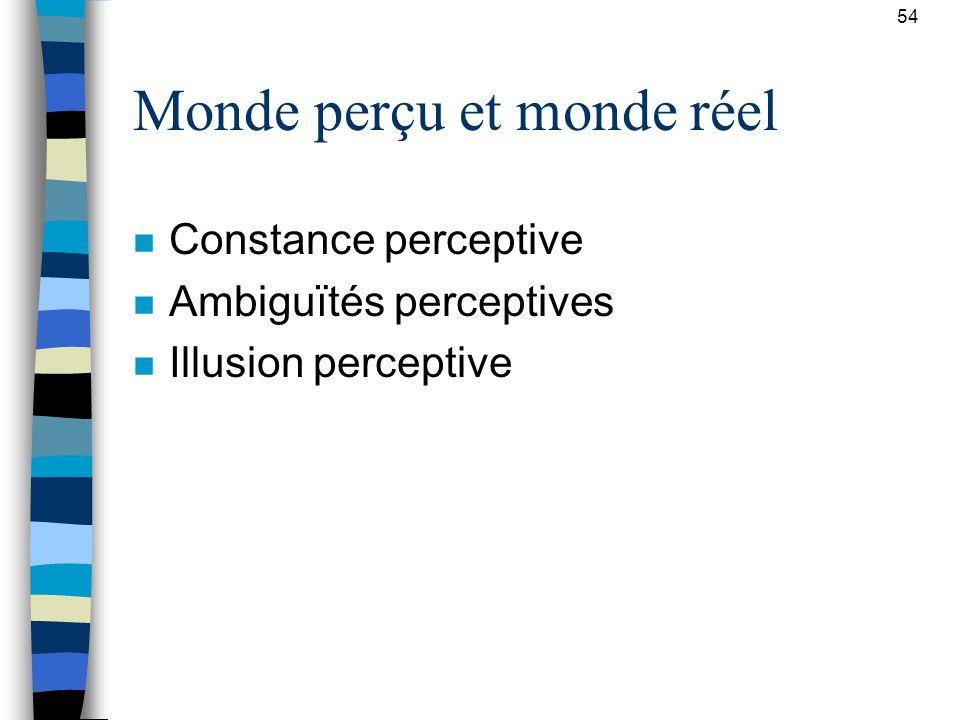 54 Monde perçu et monde réel n Constance perceptive n Ambiguïtés perceptives n Illusion perceptive
