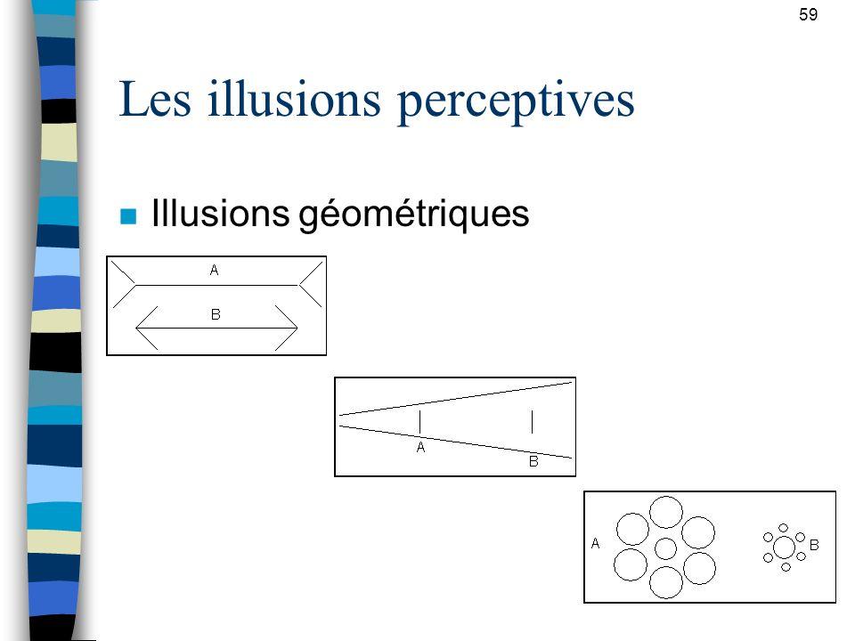 59 Les illusions perceptives n Illusions géométriques