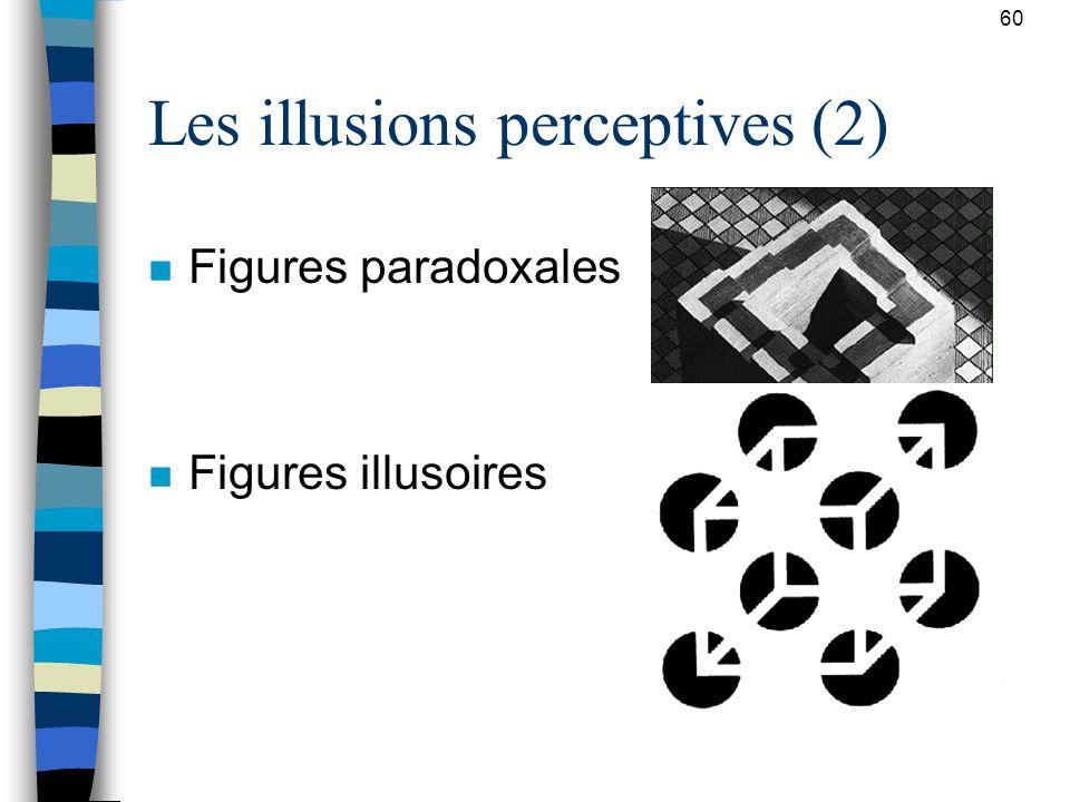 60 Les illusions perceptives (2) n Figures paradoxales n Figures illusoires