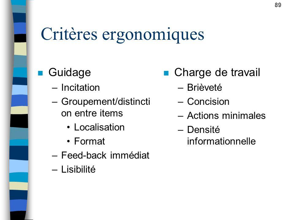89 Critères ergonomiques n Guidage –Incitation –Groupement/distincti on entre items Localisation Format –Feed-back immédiat –Lisibilité n Charge de tr