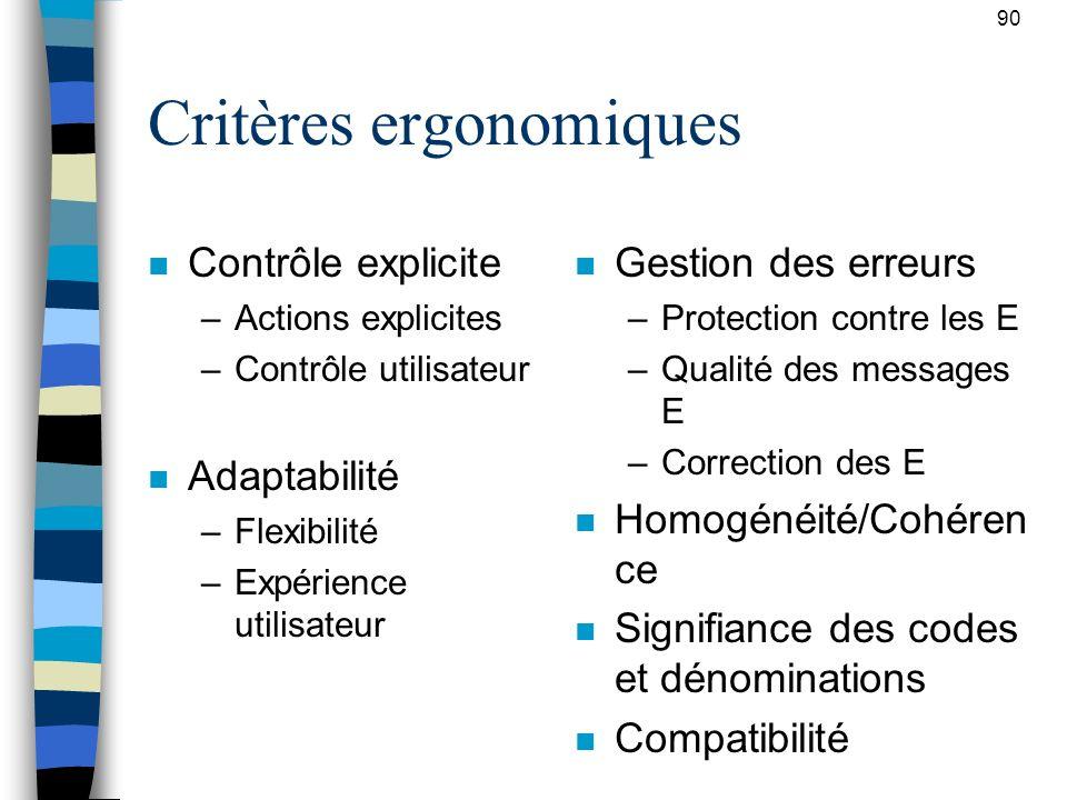 90 Critères ergonomiques n Contrôle explicite –Actions explicites –Contrôle utilisateur n Adaptabilité –Flexibilité –Expérience utilisateur n Gestion