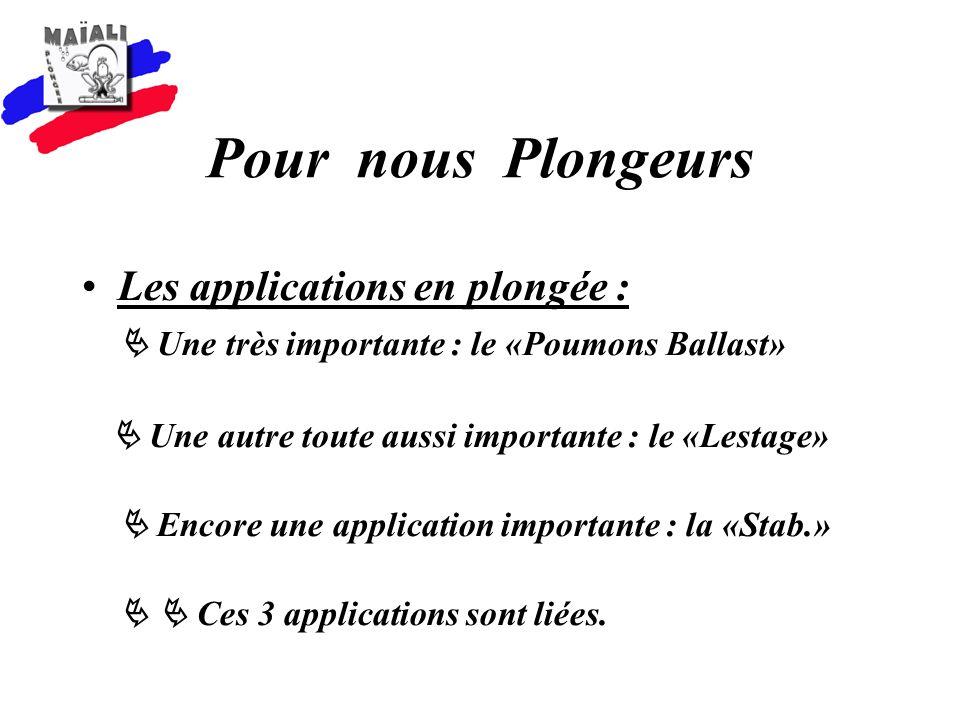 Pour nous Plongeurs Les applications en plongée : Une très importante : le «Poumons Ballast» Une autre toute aussi importante : le «Lestage» Encore une application importante : la «Stab.» Ces 3 applications sont liées.
