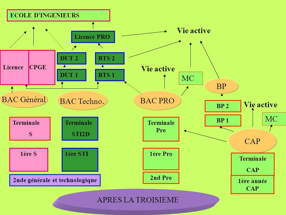 APRES LA TROISIEME 2nde générale et technologique 1ère STI CAP BAC PRO BAC Général BAC Techno. Vie active 1ère S DUT 2 DUT 1 BTS 2 BTS 1 CPGE ECOLE D