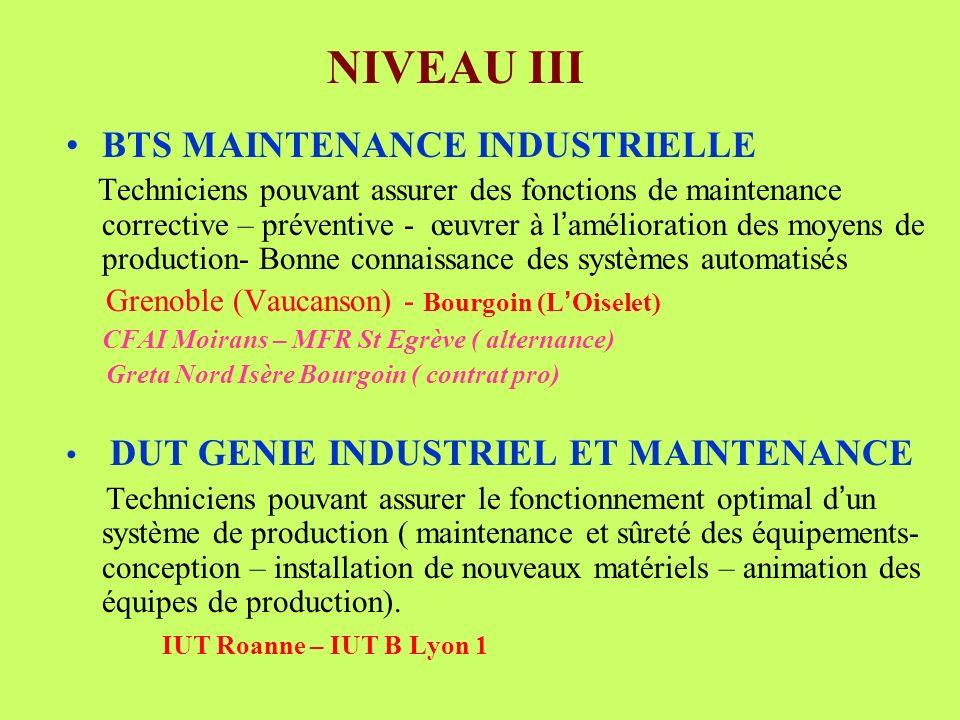 BTS MAINTENANCE INDUSTRIELLE Techniciens pouvant assurer des fonctions de maintenance corrective – préventive - œuvrer à l amélioration des moyens de