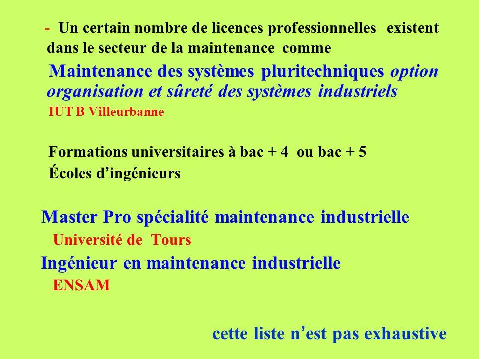 - Un certain nombre de licences professionnelles existent dans le secteur de la maintenance comme Maintenance des systèmes pluritechniques option orga