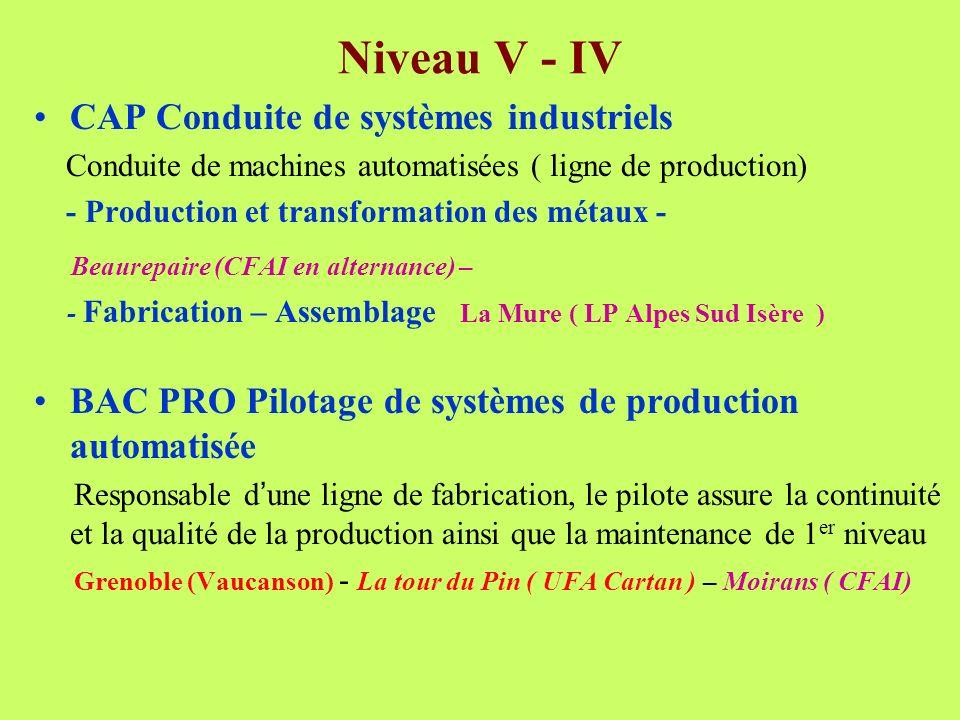 Niveau V - IV CAP Conduite de systèmes industriels Conduite de machines automatisées ( ligne de production) - Production et transformation des métaux - Beaurepaire (CFAI en alternance) – - Fabrication – Assemblage La Mure ( LP Alpes Sud Isère ) BAC PRO Pilotage de systèmes de production automatisée Responsable d une ligne de fabrication, le pilote assure la continuité et la qualité de la production ainsi que la maintenance de 1 er niveau Grenoble (Vaucanson) - La tour du Pin ( UFA Cartan ) – Moirans ( CFAI)