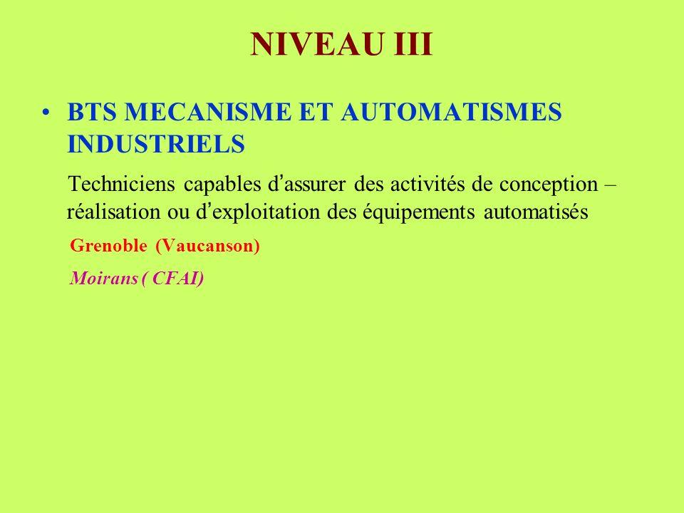 NIVEAU III BTS MECANISME ET AUTOMATISMES INDUSTRIELS Techniciens capables d assurer des activités de conception – réalisation ou d exploitation des équipements automatisés Grenoble (Vaucanson) Moirans ( CFAI)
