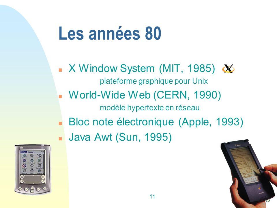 11 Les années 80 n X Window System (MIT, 1985) plateforme graphique pour Unix n World-Wide Web (CERN, 1990) modèle hypertexte en réseau n Bloc note électronique (Apple, 1993) n Java Awt (Sun, 1995)