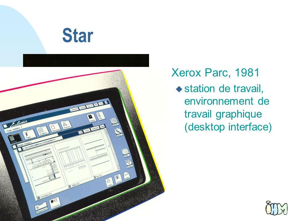9 Star n Xerox Parc, 1981 u station de travail, environnement de travail graphique (desktop interface)