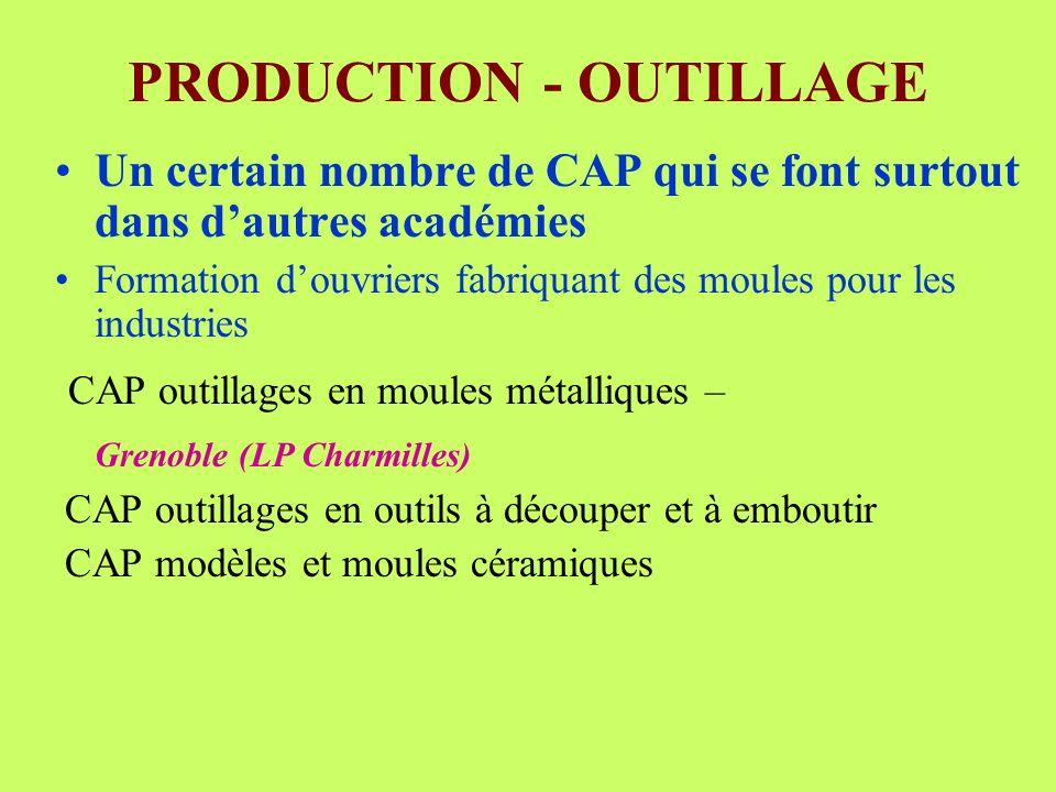 PRODUCTION - OUTILLAGE Un certain nombre de CAP qui se font surtout dans dautres académies Formation douvriers fabriquant des moules pour les industri