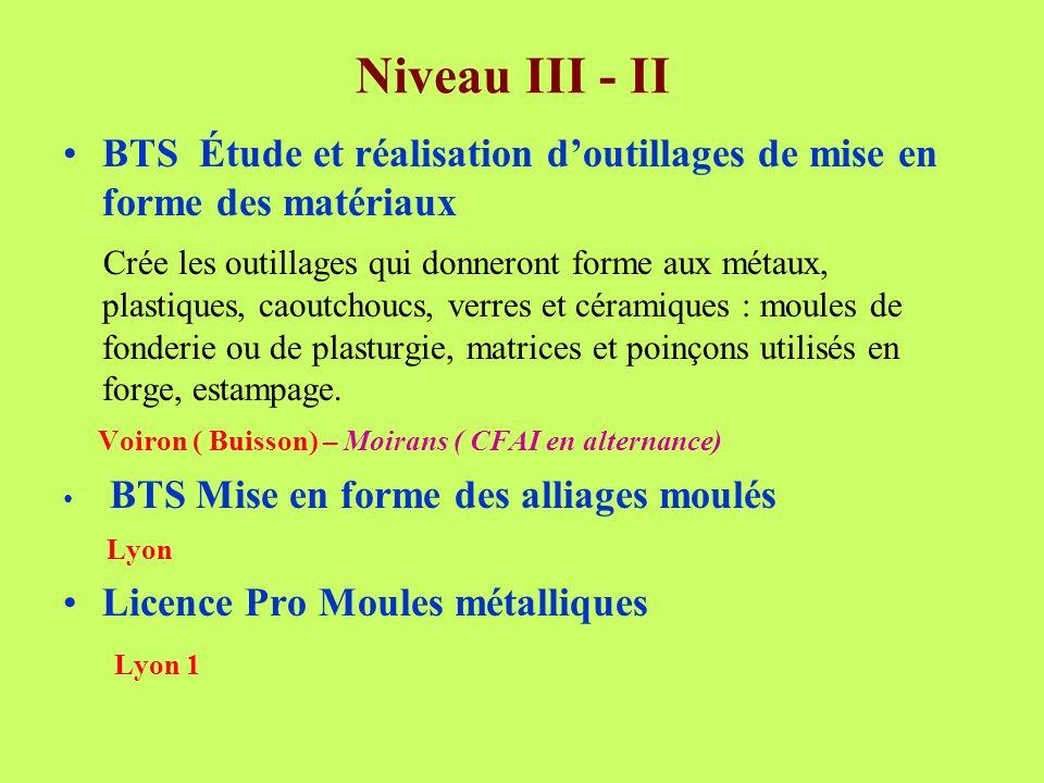 Niveau III - II BTS Étude et réalisation doutillages de mise en forme des matériaux Crée les outillages qui donneront forme aux métaux, plastiques, ca