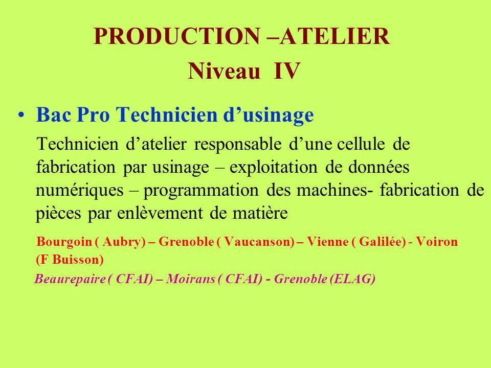 PRODUCTION –ATELIER Niveau IV Bac Pro Technicien dusinage Technicien datelier responsable dune cellule de fabrication par usinage – exploitation de do