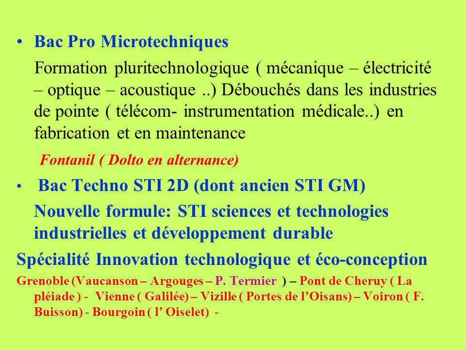 Bac Pro Microtechniques Formation pluritechnologique ( mécanique – électricité – optique – acoustique..) Débouchés dans les industries de pointe ( tél