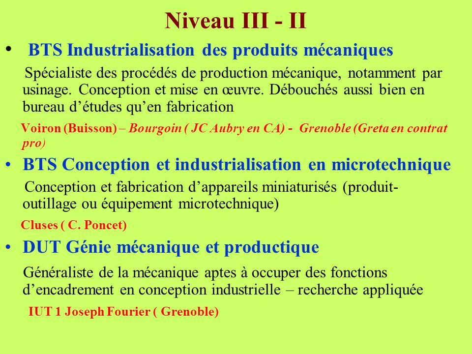 Niveau III - II BTS Industrialisation des produits mécaniques Spécialiste des procédés de production mécanique, notamment par usinage. Conception et m