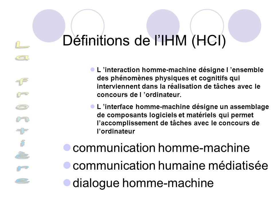 Définitions de lIHM (HCI) L interaction homme-machine désigne l ensemble des phénomènes physiques et cognitifs qui interviennent dans la réalisation d