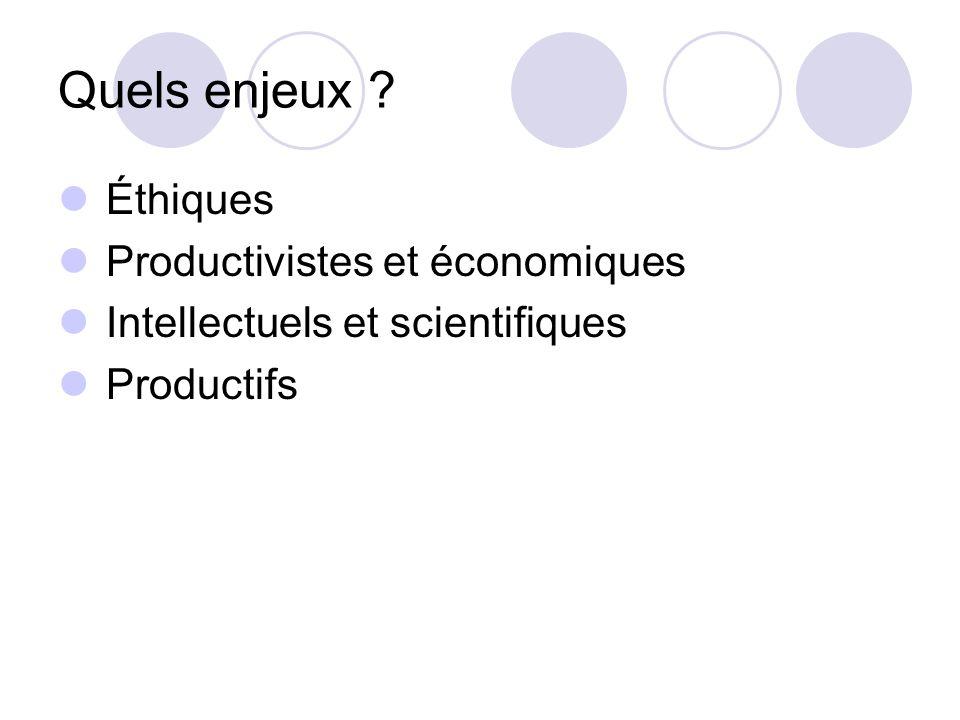 Quels enjeux ? Éthiques Productivistes et économiques Intellectuels et scientifiques Productifs