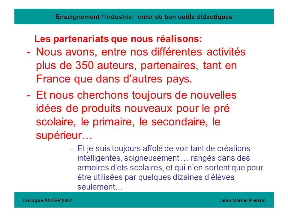 Enseignement / Industrie: créer de bon outils didactiques -Nous avons, entre nos différentes activités plus de 350 auteurs, partenaires, tant en Franc