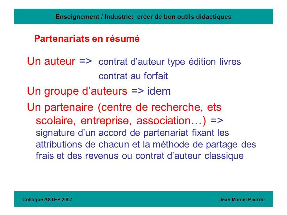 Enseignement / Industrie: créer de bon outils didactiques Un auteur => contrat dauteur type édition livres contrat au forfait Un groupe dauteurs => id