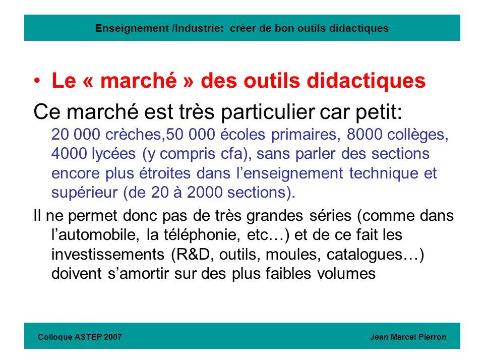 Enseignement /Industrie: créer de bon outils didactiques Le « marché » des outils didactiques Ce marché est très particulier car petit: 20 000 crèches