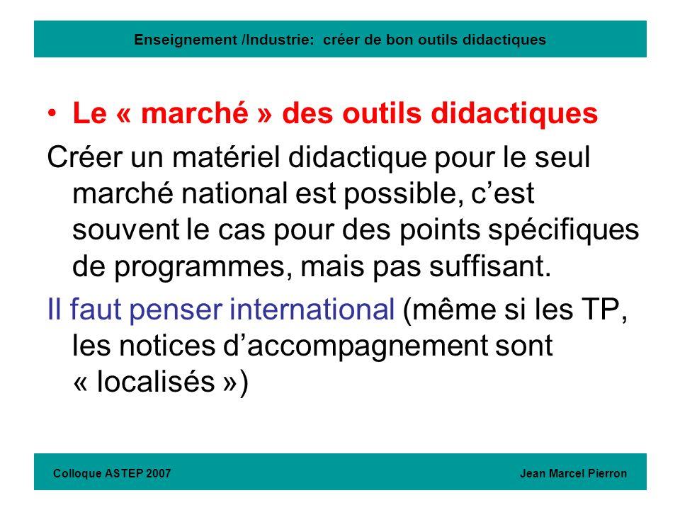 Enseignement /Industrie: créer de bon outils didactiques Le « marché » des outils didactiques Créer un matériel didactique pour le seul marché nationa