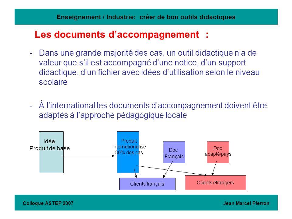 Enseignement / Industrie: créer de bon outils didactiques -Dans une grande majorité des cas, un outil didactique na de valeur que sil est accompagné d
