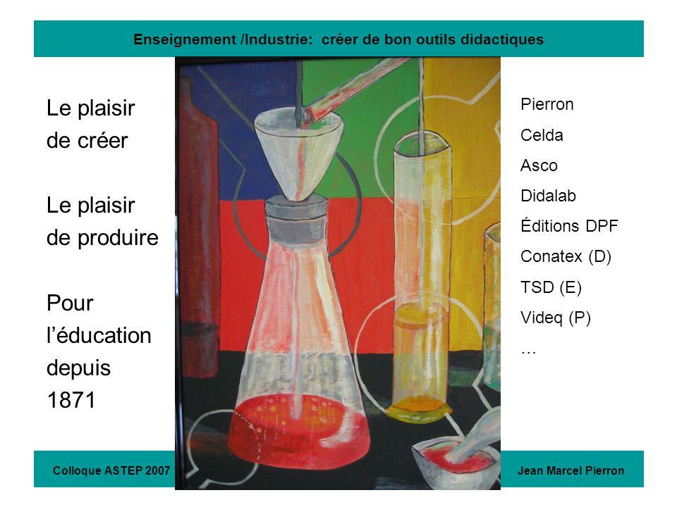 Enseignement /Industrie: créer de bon outils didactiques Le plaisir de créer Le plaisir de produire Pour léducation depuis 1871 Colloque ASTEP 2007 Je