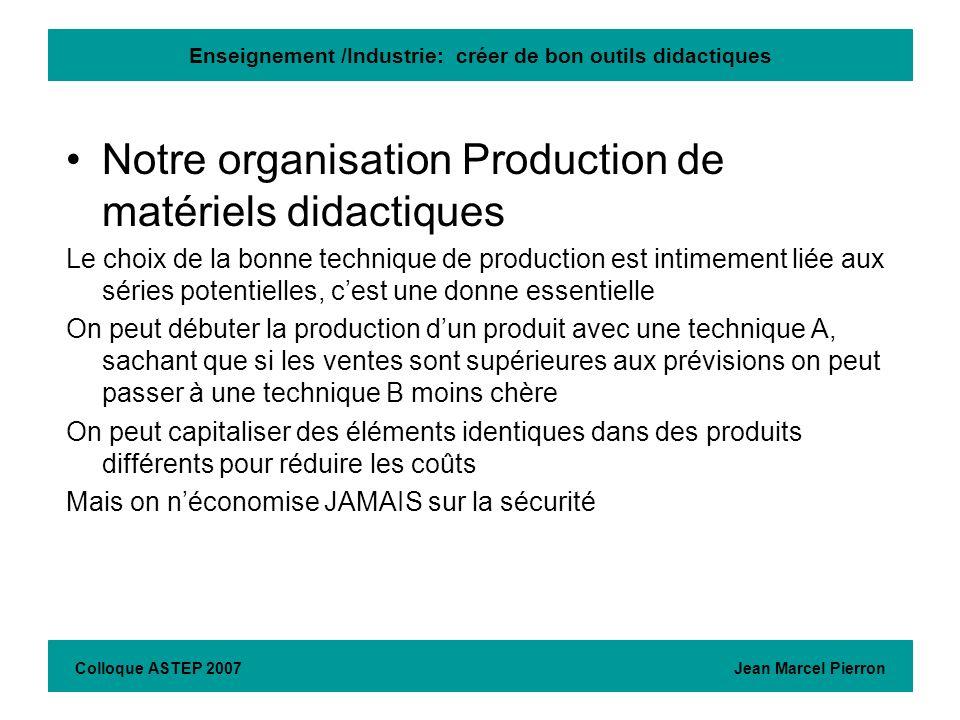 Enseignement /Industrie: créer de bon outils didactiques Colloque ASTEP 2007 Jean Marcel Pierron Il est + facile dimporter un produit dAsie, que de créer et produire en France, cest ce qui nous gène le plus en terme de concurrence (un peu en France, beaucoup à lexport, en particulier dans les pays en voie de dev.