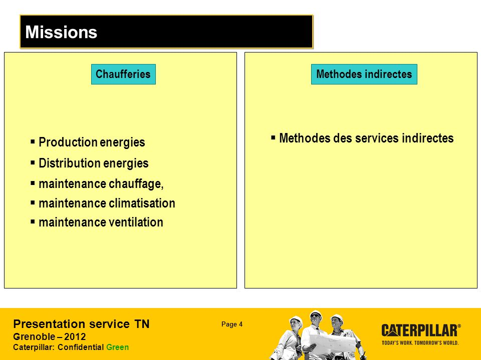 Presentation service TN Grenoble – 2012 Caterpillar: Confidential Green Page 4 Missions Chaufferies Production energies Distribution energies maintenance chauffage, maintenance climatisation maintenance ventilation Methodes indirectes Methodes des services indirectes