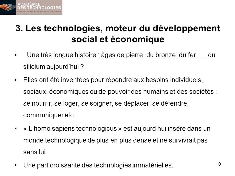3. Les technologies, moteur du développement social et économique Une très longue histoire : âges de pierre, du bronze, du fer …..du silicium aujourdh