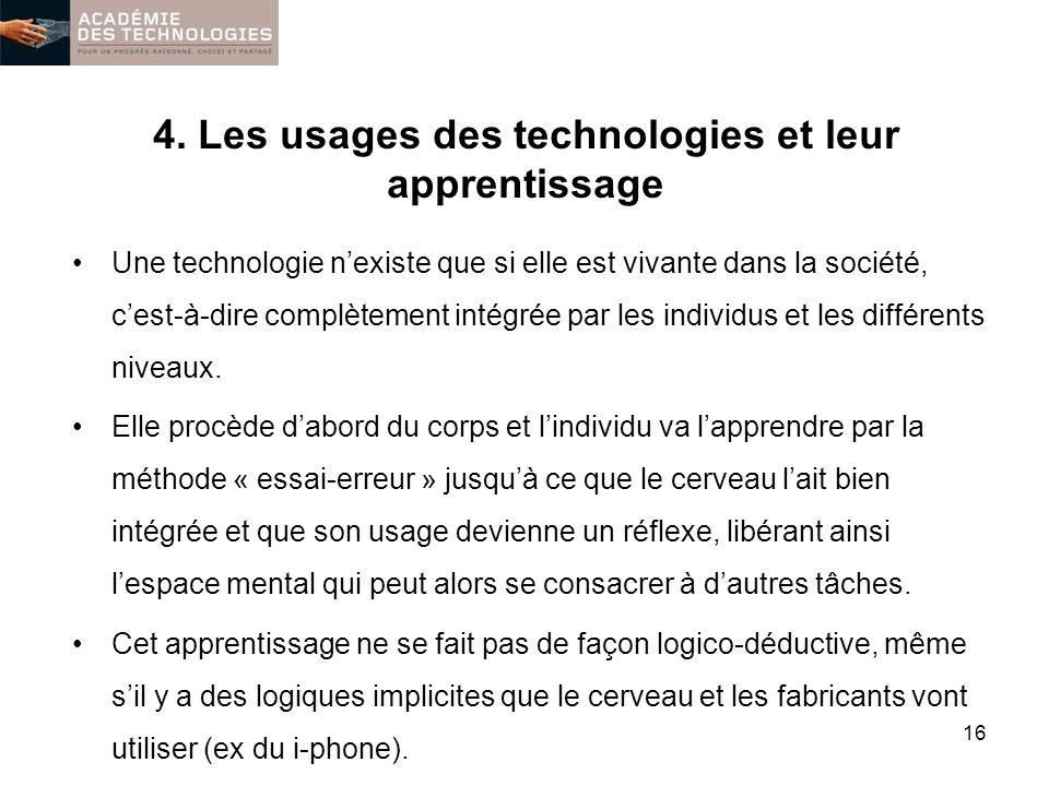4. Les usages des technologies et leur apprentissage Une technologie nexiste que si elle est vivante dans la société, cest-à-dire complètement intégré