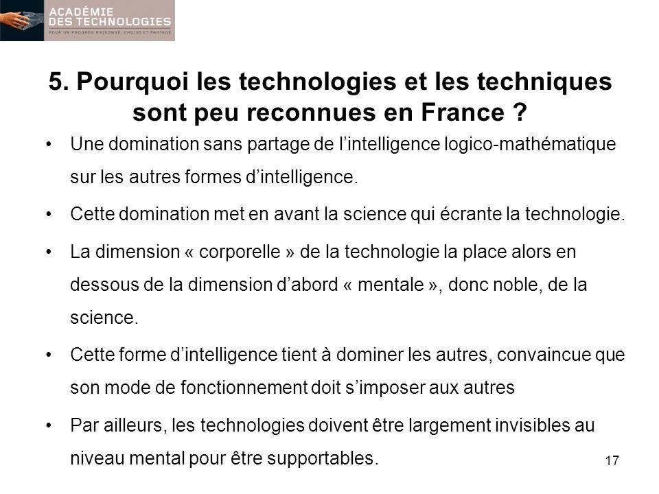 5. Pourquoi les technologies et les techniques sont peu reconnues en France ? Une domination sans partage de lintelligence logico-mathématique sur les