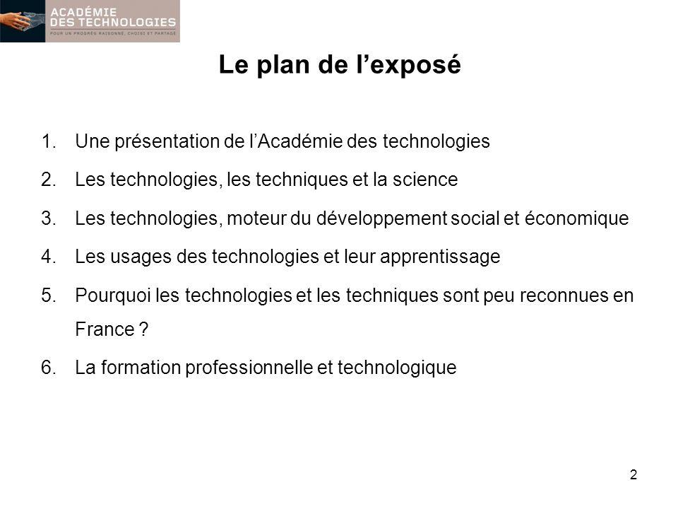 Le plan de lexposé 1.Une présentation de lAcadémie des technologies 2.Les technologies, les techniques et la science 3.Les technologies, moteur du dév