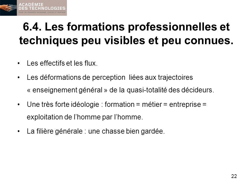 6.4. Les formations professionnelles et techniques peu visibles et peu connues. Les effectifs et les flux. Les déformations de perception liées aux tr