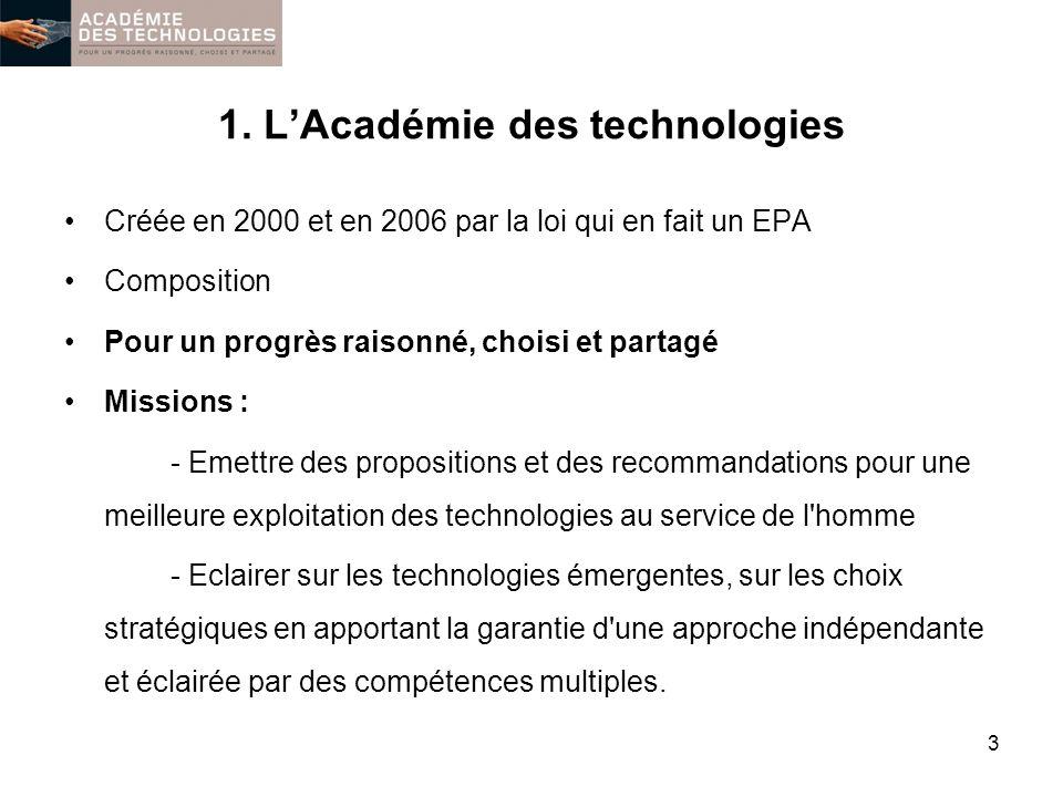 1. LAcadémie des technologies Créée en 2000 et en 2006 par la loi qui en fait un EPA Composition Pour un progrès raisonné, choisi et partagé Missions