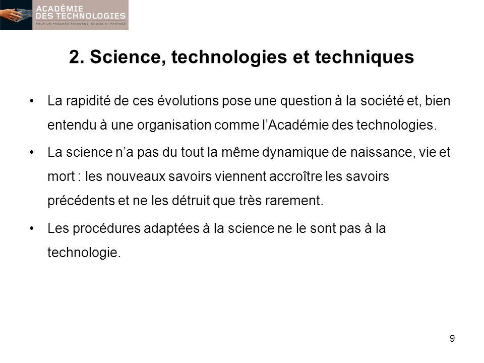 2. Science, technologies et techniques La rapidité de ces évolutions pose une question à la société et, bien entendu à une organisation comme lAcadémi