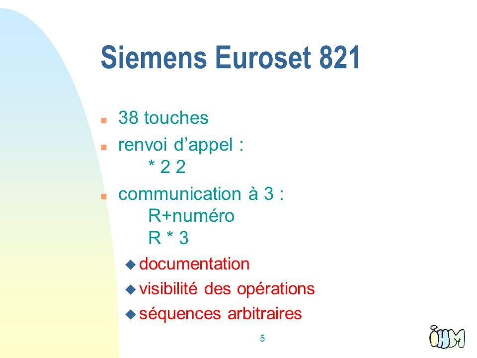 5 Siemens Euroset 821 n 38 touches n renvoi dappel : * 2 2 n communication à 3 : R+numéro R * 3 u documentation u visibilité des opérations u séquences arbitraires